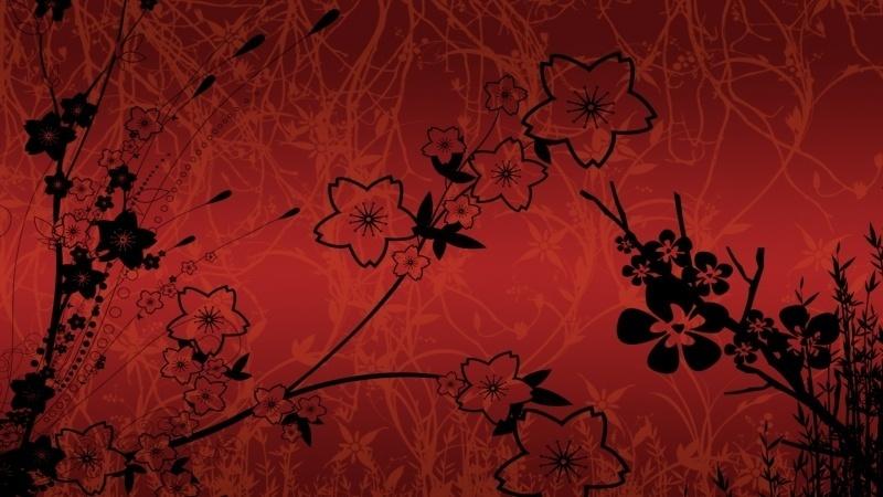 Abstrait Fleur Rouge Et Noir Fond Ecran Hd
