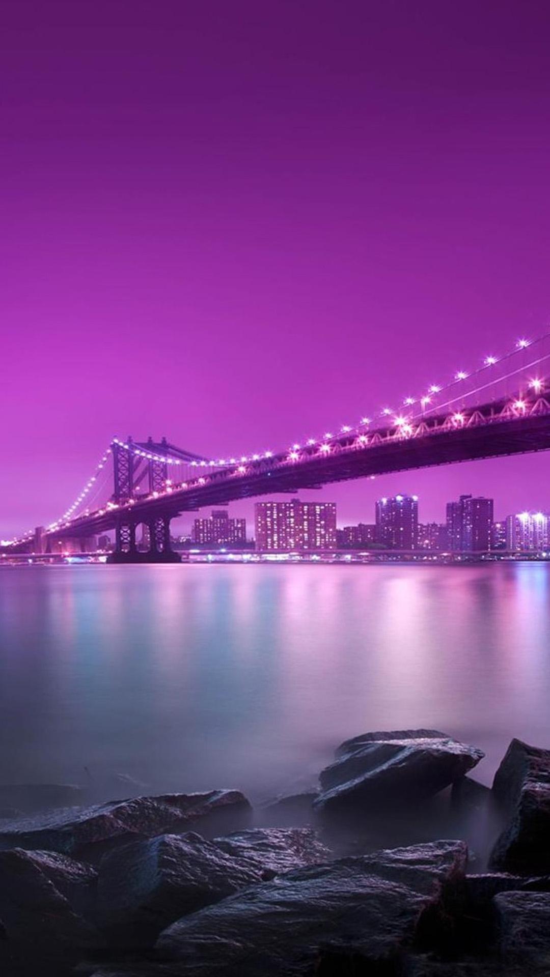 Pont Illumine Nuit Mobile Wallpaper Fond Ecran Hd