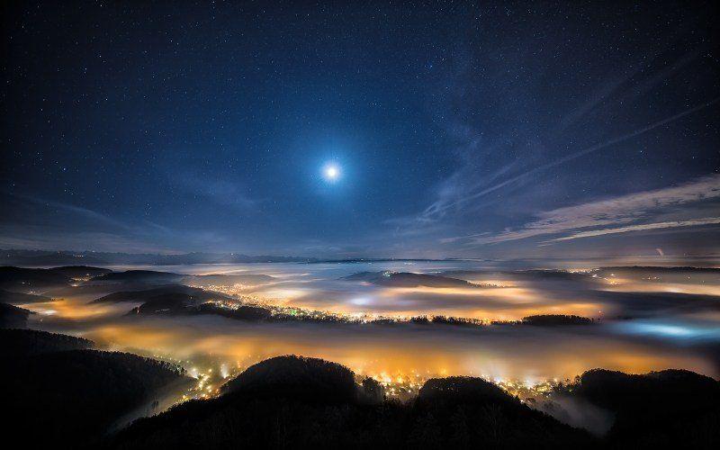 Nuit En Montagne Suisse Fond Ecran Hd