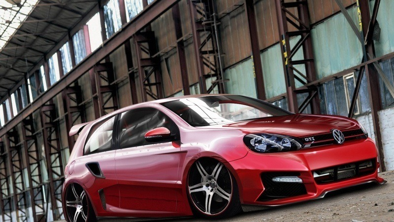 volkswagen golf rouge  tuning