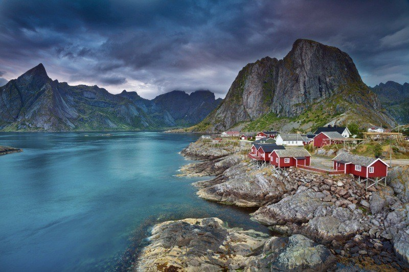 fond d'écran paysage Norvège nature port de Lofoten ville city wallpaper maison pêcheur rouge image photo bureau PC