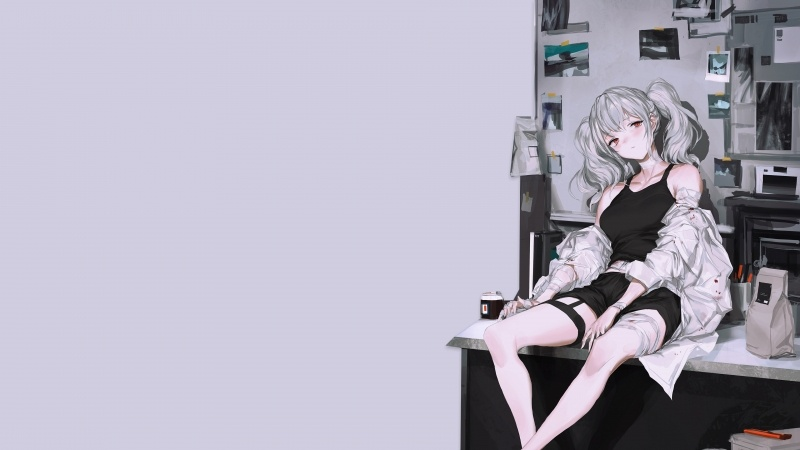 wallpaper anime girls sitting on a desk