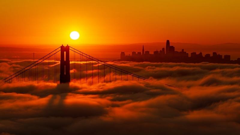 Coucher De Soleil Sur Pont Usa New York Fond Ecran Hd