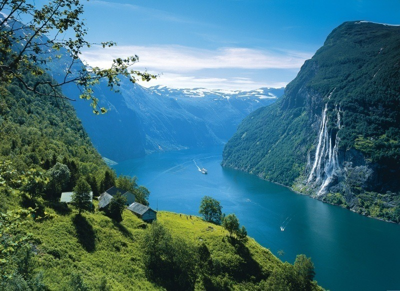 Fjord Cascade Bateau Scandinavie Photo Fond Ecran Hd