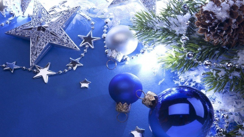 Noel Decorations Bleu Et Blanc Fond Ecran Hd